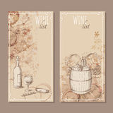 Wine list cards. Menu cards sketch. Stock Photo