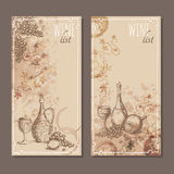 Wine list cards. Menu cards sketch. Royalty Free Stock Photos
