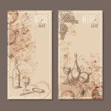 Wine list cards. Menu cards sketch. Royalty Free Stock Photography