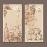 Wine list cards. Menu cards sketch. Stock Photos