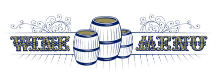 Wine list with cask and vintage pattern royalty free illustration