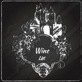 Wine list chalkboard label Royalty Free Stock Image