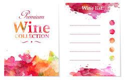 Wine list with colorful stamps and splitters Stock Photo