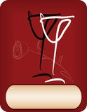 Wine list design. With two abstract glasses and rose Stock Photo