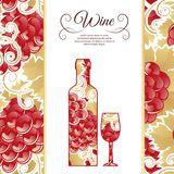 Wine list design, abstract bottle and wine glass Royalty Free Stock Photos