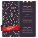 Wine list design Wine list design Stock Photography