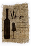 The wine list, drawn on an old canvas Royalty Free Stock Photos