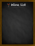 Wine list on a framed blackboard. With small glass illustration Royalty Free Stock Photos