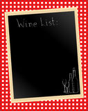 Wine list on gingham. An illustration of a wine list chalkboard on gingham background Stock Images