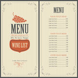 Wine list with grapes Stock Photography
