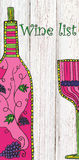 Wine list, hand drawn, zentangle stylized wine bottle and glass Royalty Free Stock Photography