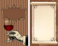 Wine list with hand holding a wineglass and old parchment Royalty Free Stock Photo