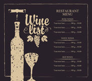 Wine list menu with bottle, glass and grape bunch Royalty Free Stock Photo