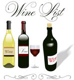 Wine list menu bottles glass design Royalty Free Stock Photos