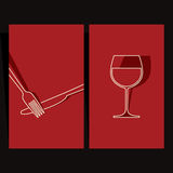 Wine list and menu design. Illustration of knife, fork and wineglass Royalty Free Stock Images