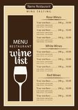 Wine list menu with glass of wine and price list Royalty Free Stock Photo