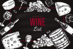 Wine List Menu. Vector. Hand drawn Frame including wine glass, bottle, grape, vineyard landscape, cheese, barrel with wine. Sketch style Stock Image