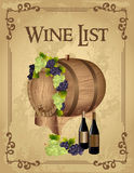 Wine list. Poster with a wooden barrel and wine bottle royalty free illustration