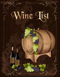 Wine list Royalty Free Stock Photography