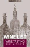 Wine list for tasting with bottles and corkscrew stock illustration