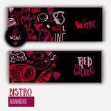Wine list Template banner with hand drawn illustration and lettering. Wine signs - bottle, glass, grape, grape leaf Royalty Free Stock Photography