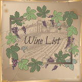 Wine list template with castle, vineyard and color grapevine frame Royalty Free Stock Photo