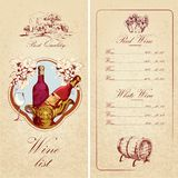 Wine list template Royalty Free Stock Image
