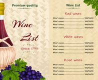 Wine list template Royalty Free Stock Images