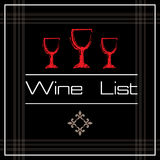 Wine list with three glasses Royalty Free Stock Photos
