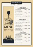 Wine list with wine glass, grapes and landscape Stock Photos