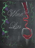 Wine list with wine glass and wine bottle on chalkboard backgrou Royalty Free Stock Image