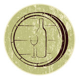 Wine logo. Wine bottle and glass on background wooden barrels. Antique logo Stock Images