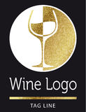 Wine logo in gold Royalty Free Stock Images