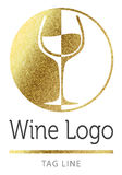 Wine logo in goldlogo, icon, shine, sparkle, background, isolated, golden, glitter, gold, glow, vector, white, style, company, bus Stock Image