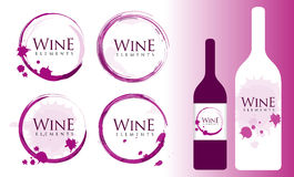 Wine Logo with Stains and Splashes Royalty Free Stock Photos