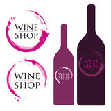 Wine Logo with Stains and Splashes Stock Photo