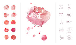 Wine logo template with collection of hand drawn watercolor colorful backdrops. Isolated on white background. Wine card cover template stock illustration