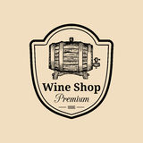 Wine logo.Vector winery sign with wooden barrel.Typographic label, badge with hand sketched keg for restaurant,bar menu. Stock Image