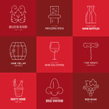 Wine Logos. Wine logo templates. Line style vector. Perfect vineyard element design Royalty Free Stock Photo
