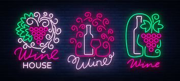 Wine logos set in trendy neon style. Logo, neon signs glowing banner. Bright sign for the menu, bar, restaurant, wine. List, wine house, wine label, vineyard Stock Image