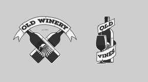 Wine logotypes. Set of icons logos bar pub wines Royalty Free Stock Images
