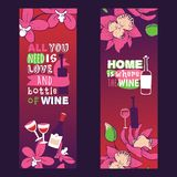 Wine lover banners vector illustration. All you need is love and bottle of wine. Home is where the wine. Spending time. Together with friend or lover. Feeling royalty free illustration