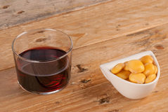 Wine and lupin beans Royalty Free Stock Images