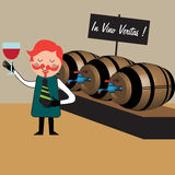 The wine maker. Colorful illustration with wine maker inspecting wine from barrel Stock Photo