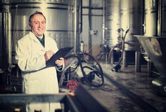 Wine maker examines equipment at winery Royalty Free Stock Images
