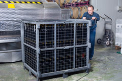 Wine maker unloads containers with bottles Royalty Free Stock Photography
