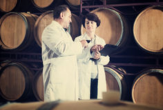 Wine maker with wineglass Royalty Free Stock Photography