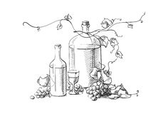 Wine making. Bottles with wine glass and grapes Royalty Free Stock Images