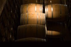 Wine making. Antique looking shot of cellar in winery Stock Images