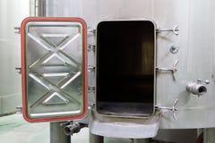 Wine Making Equipment, view of open aluminium tank Royalty Free Stock Image